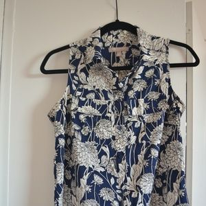 Banana Republic Blue White Floral Blouse